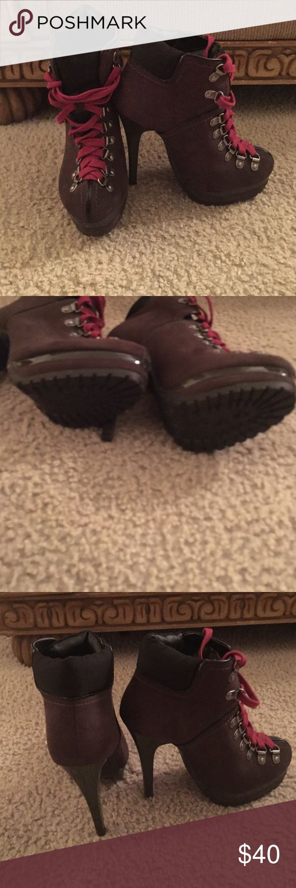 Brown heeled  boots with red laces In good condition. Has only been worn once Shoes Heeled Boots