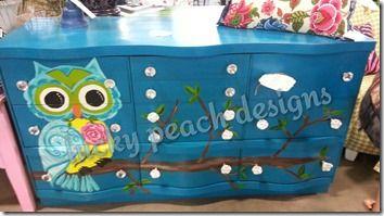Lucky Peach Designs  blue dresser with owl motif