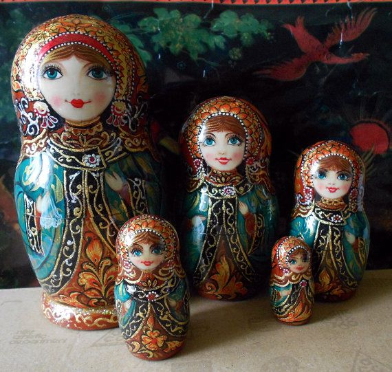 painting matryoshaka dolls | Author's nesting dolls matryoshka with painting in russian style ...