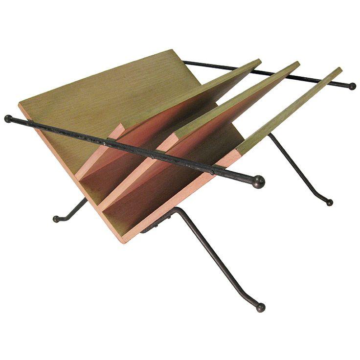 style of paul mccobb mid century modern iron wood magazine rack
