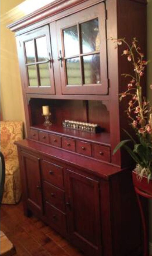 Perfect Broyhill Attic Heirlooms China Cabinet In Antique Red Color ❤️