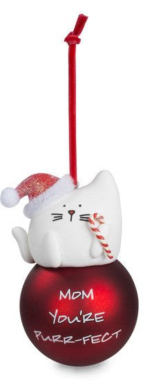 Has a velvet ribbon for hanging Bulb is plastic Has a puff ball accents on the hats Comes with a velvet ribbon for hanging Perfect gift for a cat lover Made with Polymer Clay Blobby Cat is a collectio