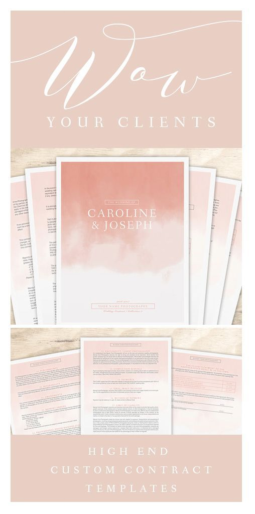 Wedding Photography Contract | Custom Branded Photography Template | Photography Marketing Template | Watercolor Ombre Blush Branding:
