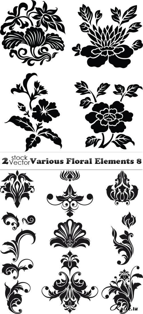 Цветы и растительные узоры, вензеля - векторные элементы