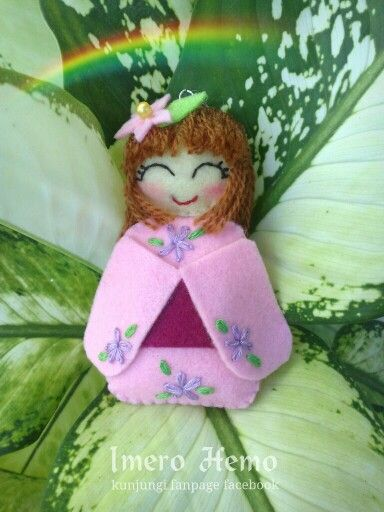 Kawaii pink felt doll