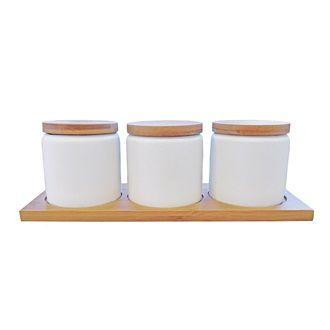 CERAMICS - Ceramic & Wood Condiment Set - Kerridge Linens & More
