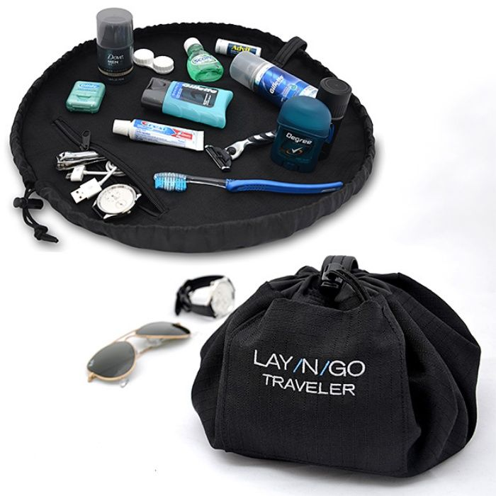 Lay-N-Go Traveler Makes Packing and Unpacking Easier. I use a draw string bag anyway, but never thought to have one I could lay flat.