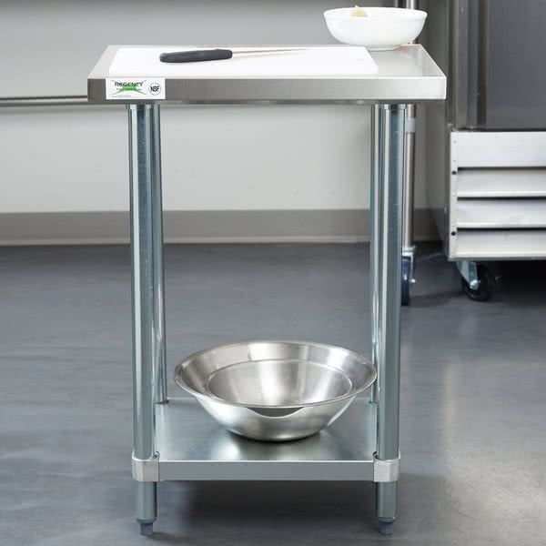 "Regency 18"" x 24"" 18-Gauge 304 Stainless Steel Commercial Work Table with Galvanized Legs and Undershelf"