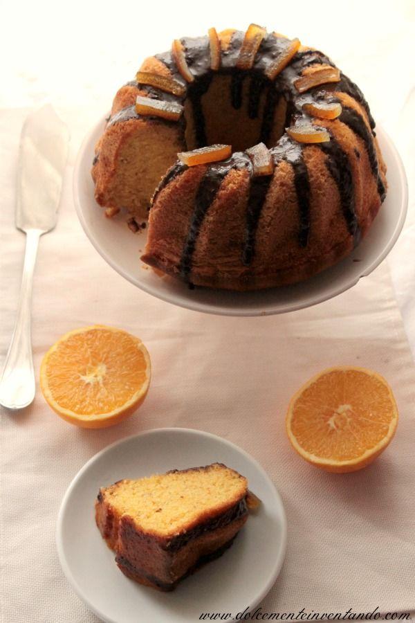 Ciambellone arancia e carota con glassa di cioccolato e scorzette candite