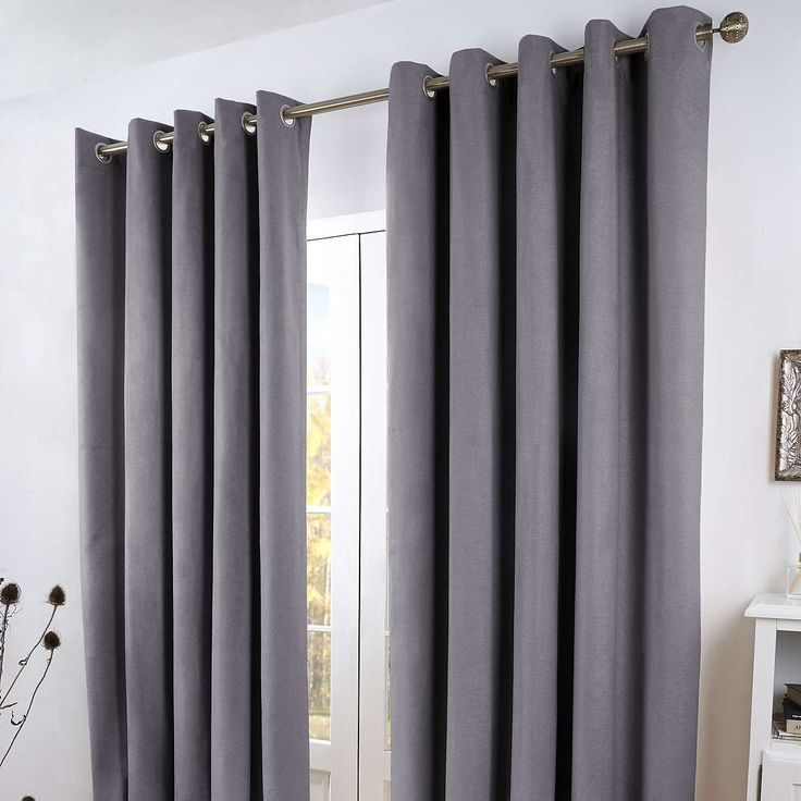 Grey Toronto Thermal Eyelet Curtains | Dunelm