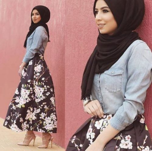 Choose the least dominant colour on the skirt as the colour of your shirt. Keep it plain and close to the body to balance the poofiness of the skirt. Then, choose the most dominant colour on the skirt as the colour of your hijab. Keep that plain too.