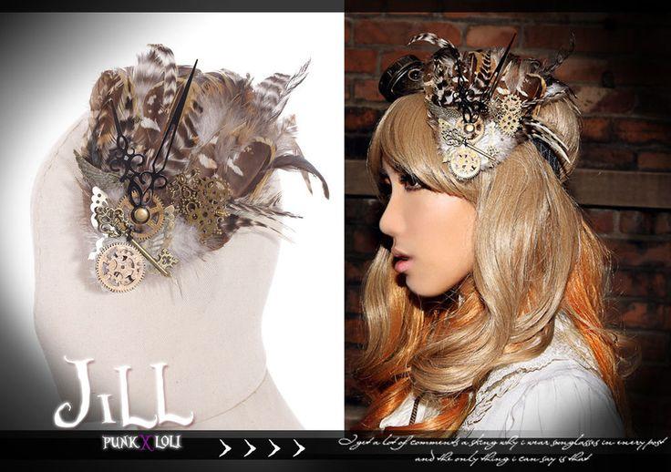 Goth visual Victoria SteamPunk clock sparrow feather Fascinator hairclip SP045 C #jill