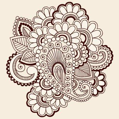 Mano-Drawn intrincadas Abstract Flowers Mehndi Henna Tattoo Paisley Doodle Foto de archivo