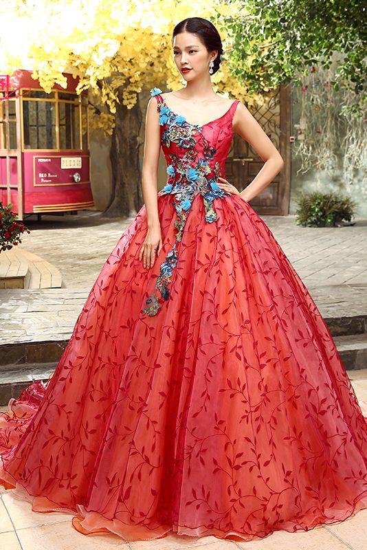 V-cou robe de bal robe rouge sans manches dentelle étage longueur couleur de mariage Chapelle Cfz0050 appliques
