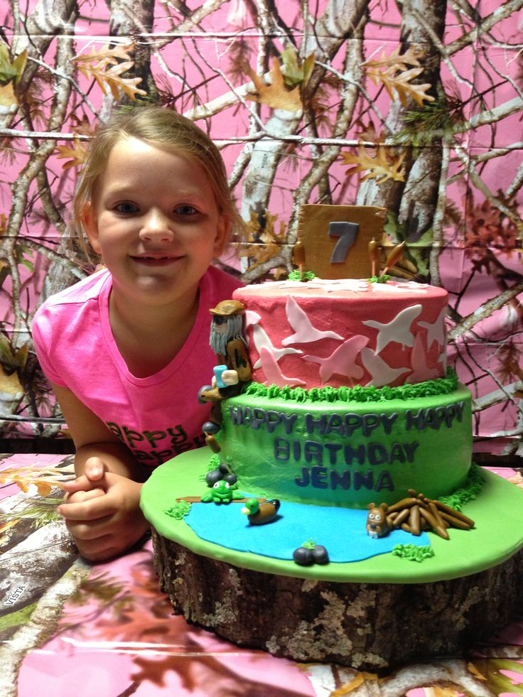 Had this Duck Dynasty cake made for my daughter's 7th birthday!  Asked her to girlie it up by using pink duck camo on top. Made for a HAPPY HAPPY HAPPY birthday girl!