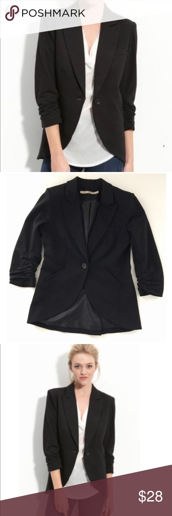 "Nordstrom Gibson Ruched Sleeve Blazer - small Gibson Ruched Sleeves Blazer from Nordstrom in Black  Flattering curved hem blazer can be dressed up or casual with jeans. EUC Ruched 3/4 Sleeves; 1 Button Front Closure; 2 Front Faux Pockets; Fully Lined. Length 25""-27"" / Bust 18"" Gibson Jackets & Coats Blazers"