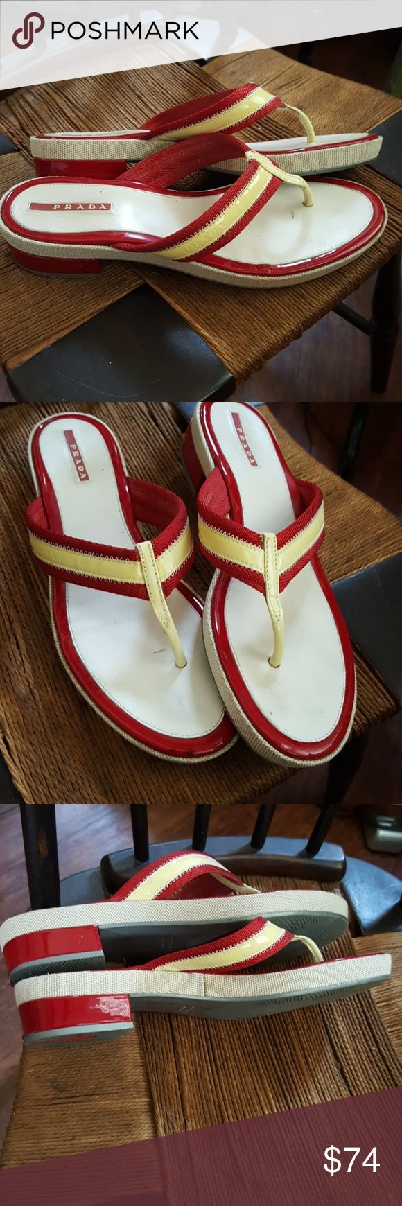 Prada flip flops 40 I am sadly reposhing these. No matter how many times I buy sandal with a toe piece I just simply can't wear them. There is some yellowing of the patent and Mild signs of wear but these are overall gorgeous shoes in great condition Prada Shoes Sandals