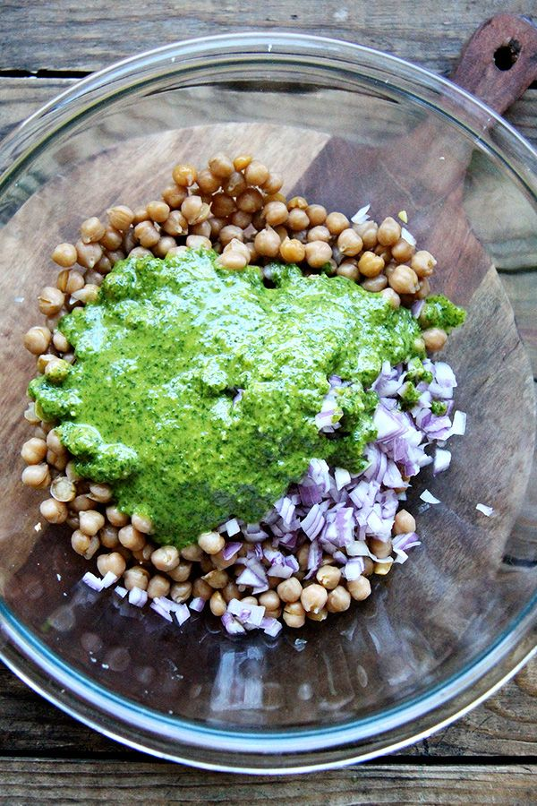 Cilantro-lime dressing — made in the food processor, super delicious on this simple chickpea salad #vegan