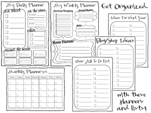 Free organization planner printables