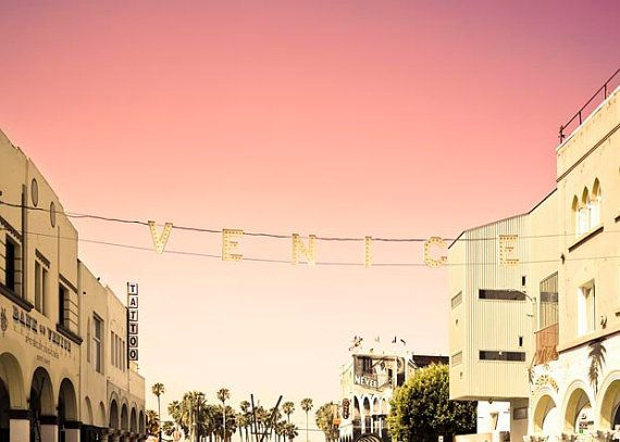 Venice Beach California Print Pastel Pink Yellow Beige Decor Historic Venice Sign California Art Summer Decor