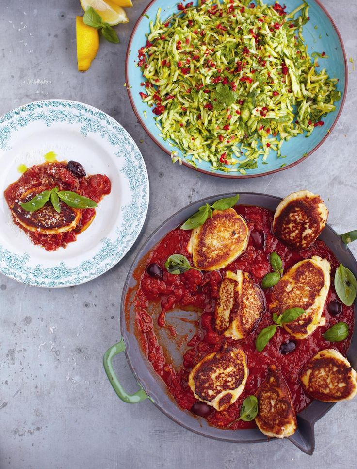 Ricotta Fritters, Tomato Sauce and Courgette Salad from Jamie Oliver's 15 Minute Meals. This quick, easy and very tasty vegetarian meal can be ready in minutes!
