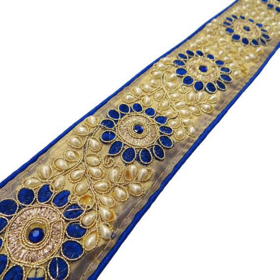 2.5''inches Beaded Ribbon Trim Floral by Indianbeautifulart