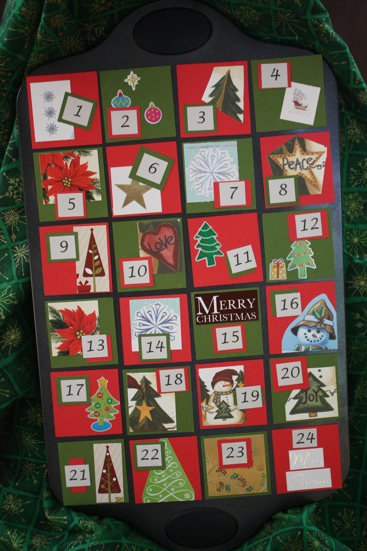Wreath from old christmas cards - I Made It Out Of A Mini Muffin Tin And Used Old Christmas Cards To Decorate The Squares For Storage I Will Just Put The Magnetic Squares