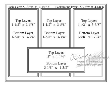 card making sketch from Robin's craft room ... measurements included ... three rectangular panels with a sentiment panel on top ...