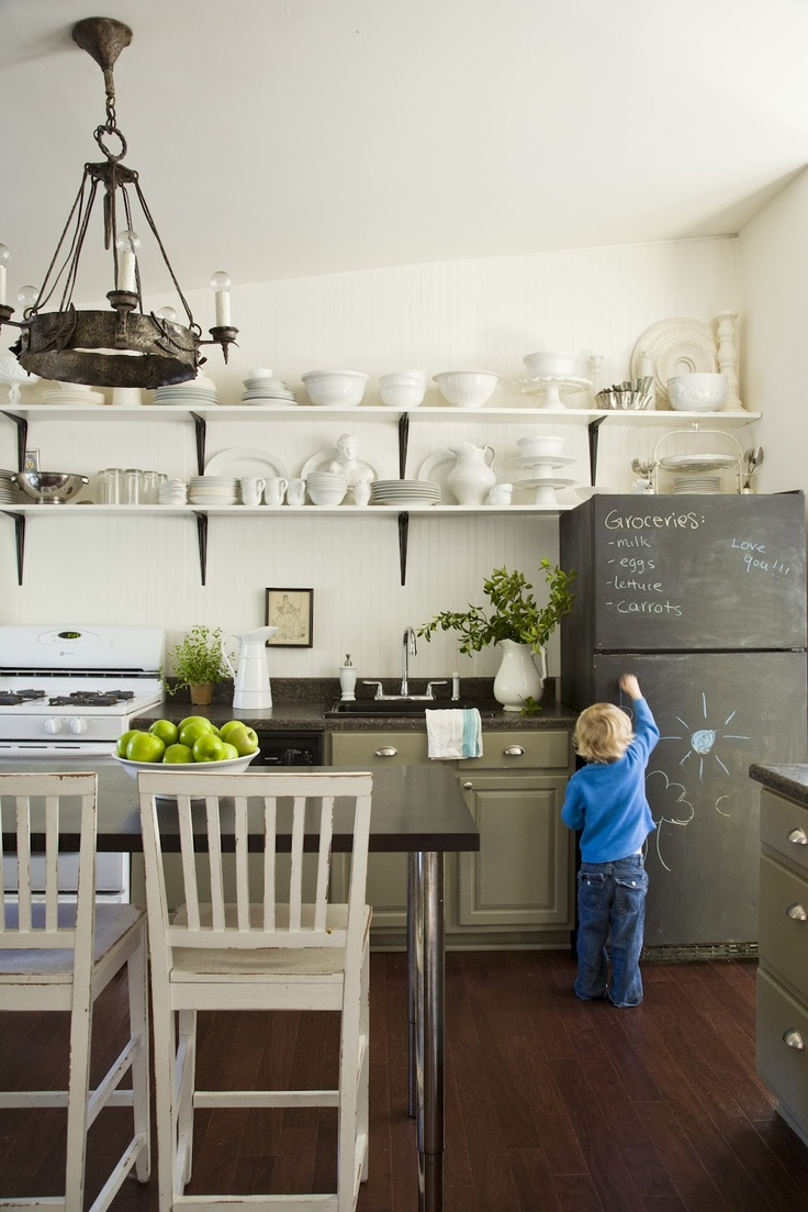 Pure Style Home: open shelving kitchenKitchens, Ideas, Open Shelves, Chalkboards Painting, Chalkboard Paint, Eclectic Kitchen, Chalk Boards, White Dishes, Chalkboards Fridge