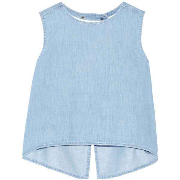 Steve J & Yoni P Split-back denim top (229.055 CRC) ❤ liked on Polyvore featuring tops, blouses, spaghetti-strap top, embroidered top, boxy top, light blue top and denim top