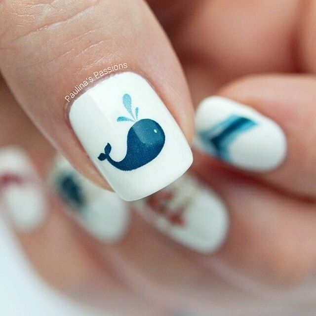 Whale nail! Such a cute idea for easy summer nails. I want to do this.