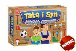 Gra rodzinna Tata i syn: męskie sprawy  Męskie sprawy to wesoła i dynamiczna gra, w której gracze odgadują wiele ciekawostek ukrytych w pytaniach przygotowanych specjalnie dla syna i dla taty.  Wygrywa ten, kto odpowie na więcej pytań!
