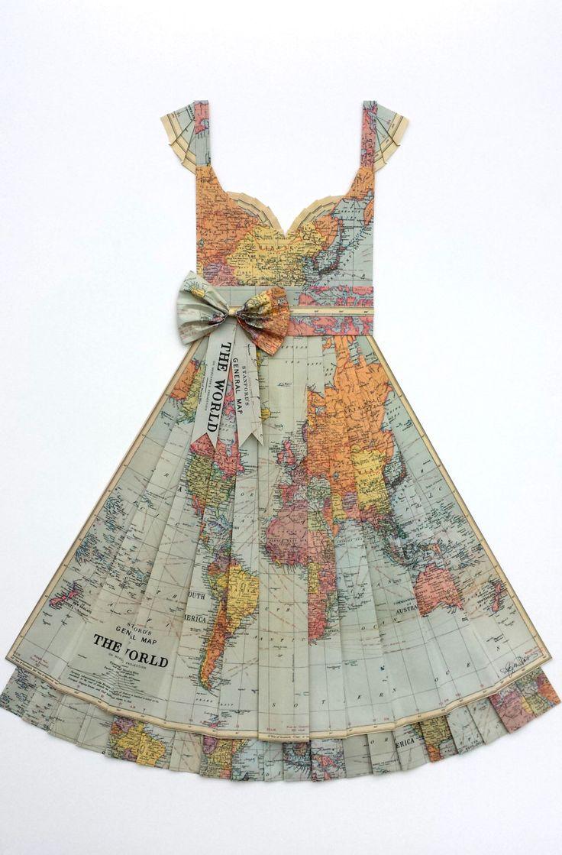 large map of the world hand folded map dress pastel pinkpurpleorange