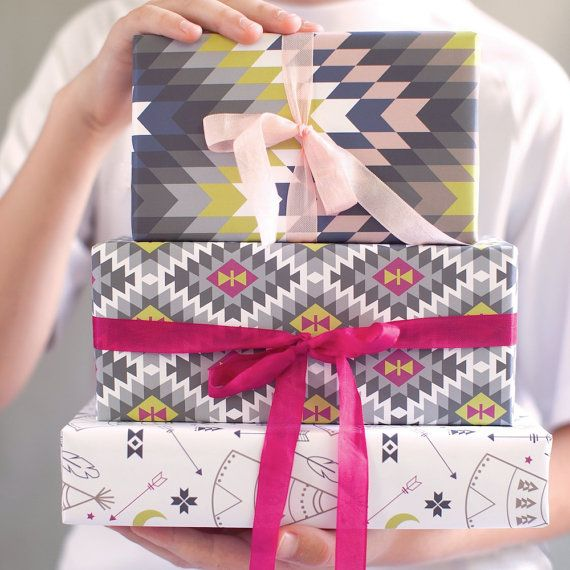 TO SEE OUR COMPLETE COLLECTION OF WRAPPING PAPER please visit us at www.revelandco.com This southwestern inspired gift wrap is part of our tribal collection in the Taos colorway. • each sheet is 19.5 x 27 inches (fits a shirt box) • 3 flat sheets (rolled and shipped in mailing tube or