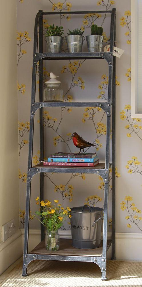 4 Tier Metal Frame Bookshelf - Urban Vintage Industrial Rustic - Pewter
