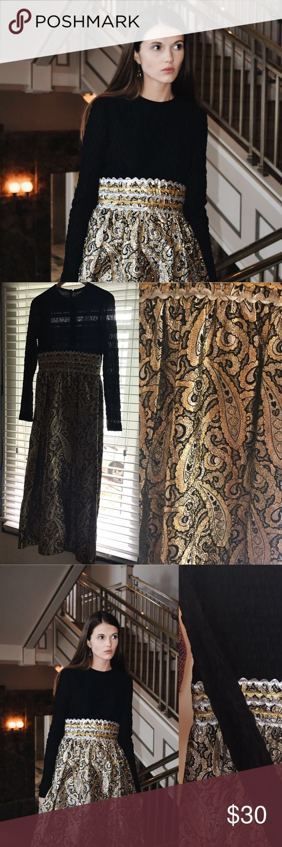 Vintage Black and Gold Maxi Dress Perfect for the holidays. No label. Size M. Gold metallic thread skirt and back zip closure. Long sleeve, perfect for the holidays. Vintage Dresses Maxi