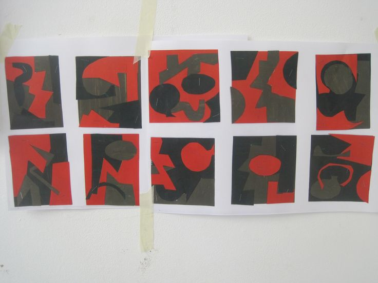 10 collages - colours based on Ben Nicholson still life