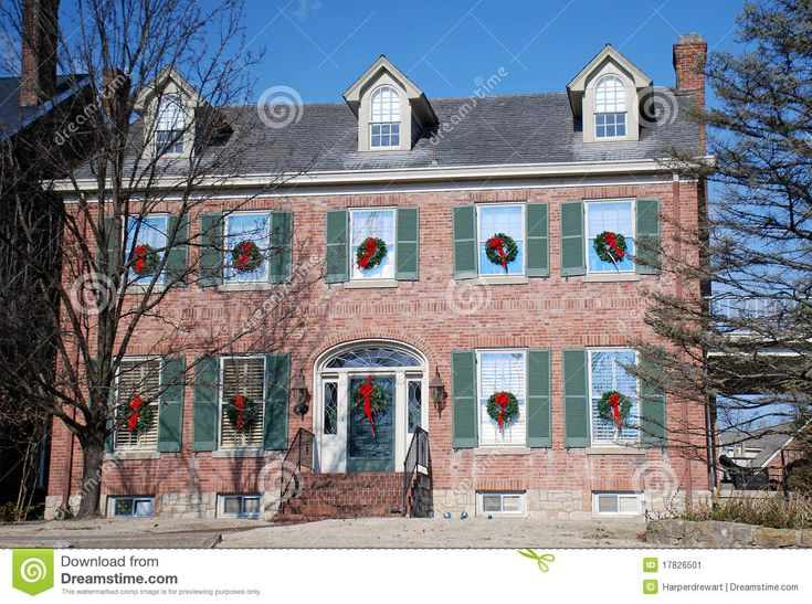 Brick Colonial Decorated For Holidays 97 Stock Image