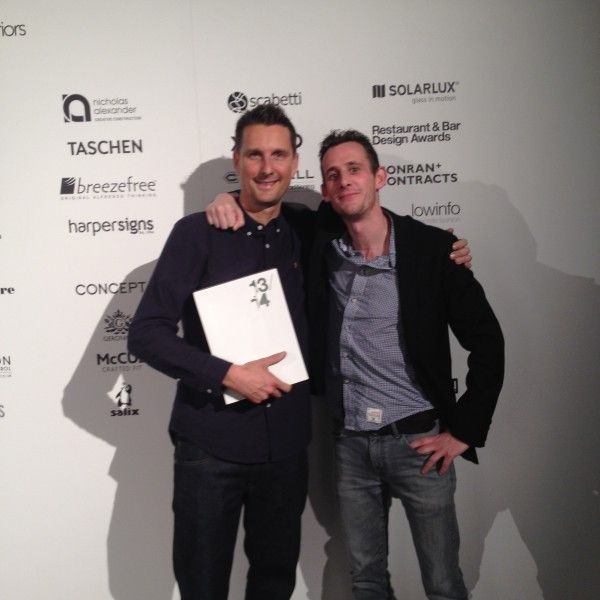 into lighting. darren orrow and anthony stead from into lighting with the award for best scheme at