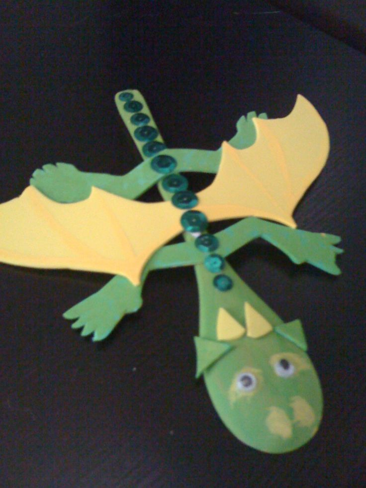 Dragon craft with wooden spoon, paint, craft foam, and sequins