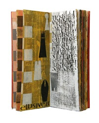 Laura Wait, Flexible, unique book,    painting and handwriting, collographs,    hand stamps, BFK Rives paper sewn on    linen cords with linen thread, wood boards    laced onto cords, copper patinated,    lacquered, and attached with brass tacks,    felt-lined drop back box,    5-3/4 x 15 x 7/8 in.  Penland Books and Paper Classes