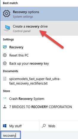 Windows 10, system, recovery, USB, memory stick, flash, drive