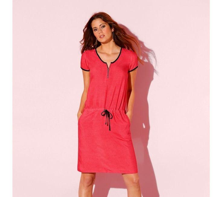 Dvojfarebné šaty s výstrihom na zips | blancheporte.sk #blancheporte #blancheporteSK #blancheporte_sk #dress #saty