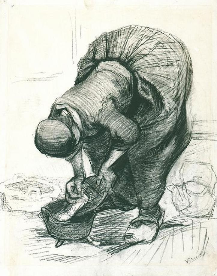 Peasant Woman at the Washtub, black chalk, 1885. Vincent van Gogh drawings