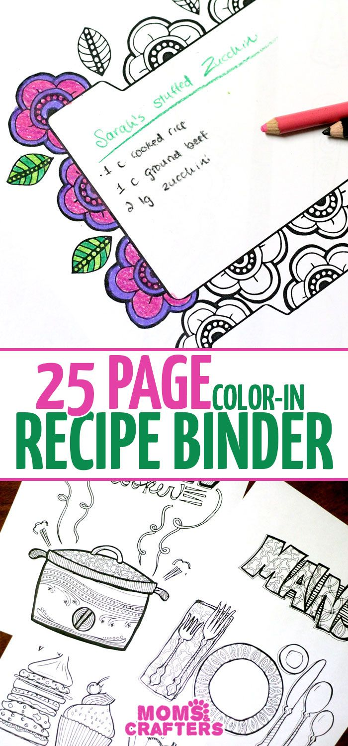 Printable recipe binder coloring pages for adults - so cool! this is such an…