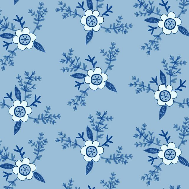 Blue & white floral pattern. By Laurence Lavallée aka Flo www.akaflo.com