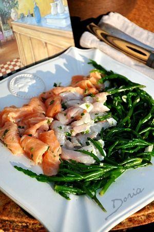 Georges-Blanc- salade de salicorne / bar / saumon