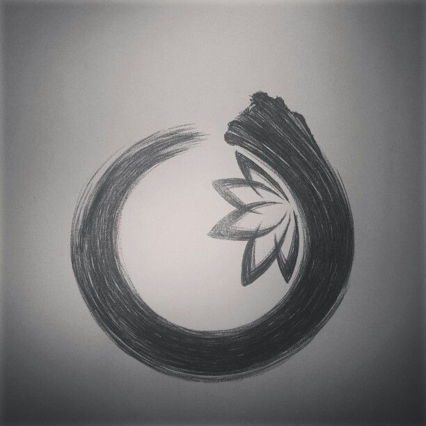 Perfect balance, enso circle with lotus. Symbolising that the most beautiful of things rise from muddiest of waterss.