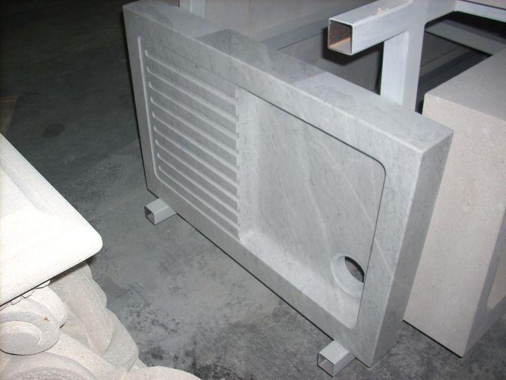 Waschbecken Marmor - http://www.achillegrassi.com/de/project/lavello-in-marmo-bianco-carrara-lucido-3/ - Waschbecken aus weißem Carrara Marmor, poliert Maße:  90cm x 60cm x 10cm