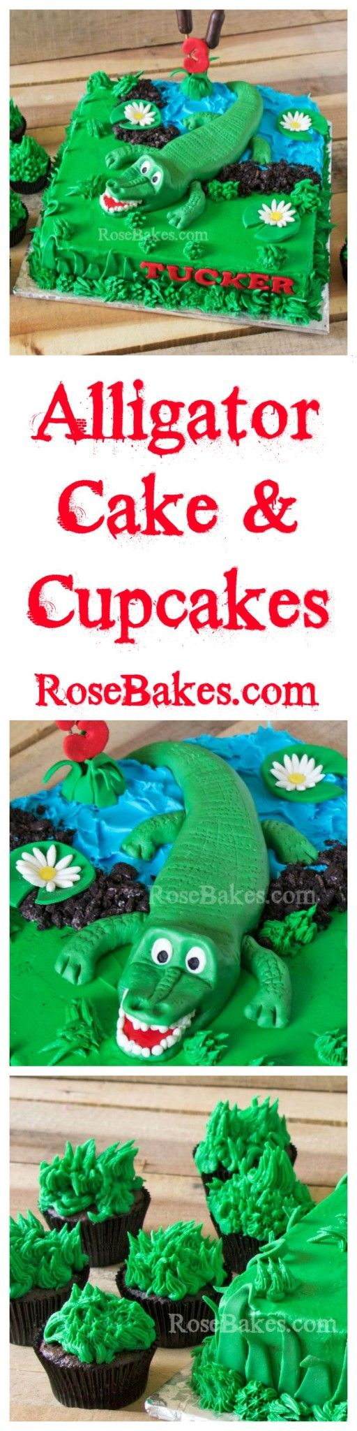Alligator Cake & Cupcakes by Rose Bakes